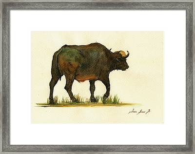 African Buffalo Watercolor Painting Framed Print by Juan  Bosco