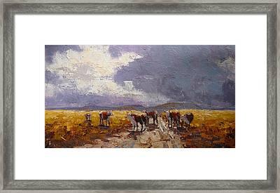 African Cattel Framed Print by Yvonne Ankerman