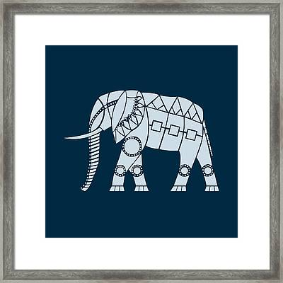 African Elephant - Blue Version 2 Framed Print by Hinterlund