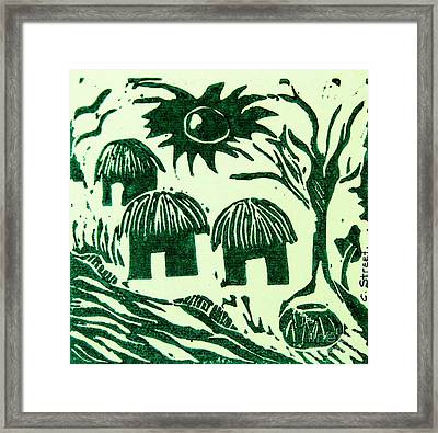 African Huts Framed Print by Caroline Street