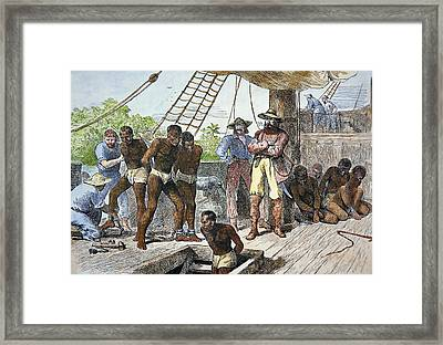 African Slaves Being Taken On Board Ship Bound For Usa Framed Print by American School