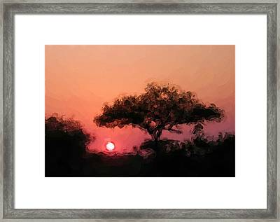 African Sunset Framed Print by David Lane