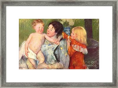 After The Bath Framed Print by Cassatt