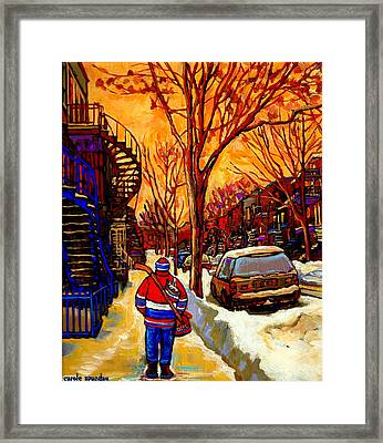 After The Hockey Game A Winter Walk At Sundown Montreal City Scene Painting  By Carole Spandau Framed Print by Carole Spandau