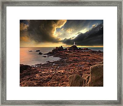 after the storm at La Corbiere Framed Print by Meirion Matthias