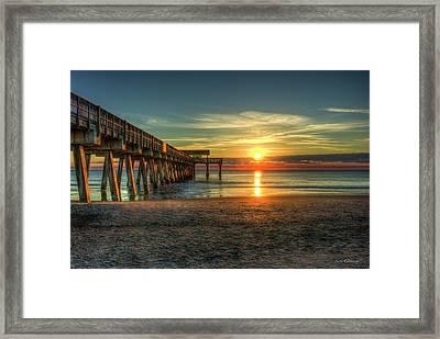 After The Storm Tybee Island Pier Sunrise Art Framed Print by Reid Callaway
