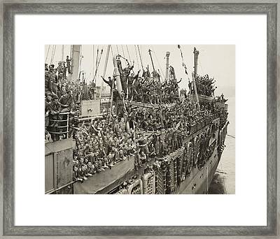 After Victory In Europe, The Troops Framed Print by Everett