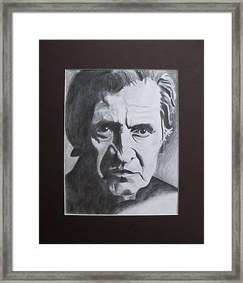Aging Johnny Cash Framed Print by Mikayla Ziegler
