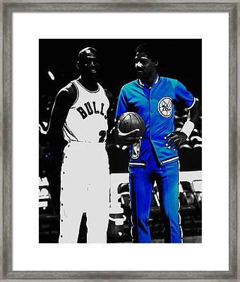 Air Jordan And Julius Erving Framed Print by Brian Reaves