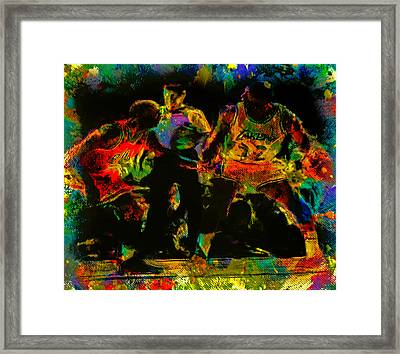 Air Jordan And Magic In The Paint Framed Print by Brian Reaves