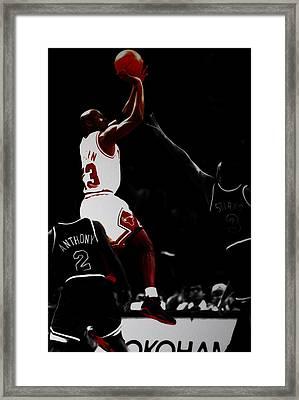 Air Jordan Over John Starks Framed Print by Brian Reaves