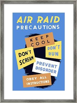 Air Raid Precautions - Ww2 Framed Print by War Is Hell Store