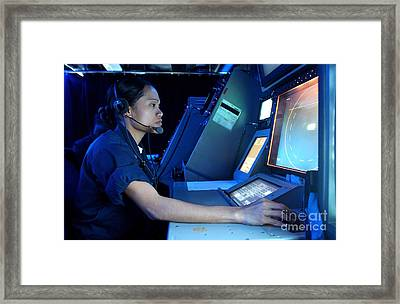 Air Traffic Controller Monitors Marine Framed Print by Stocktrek Images