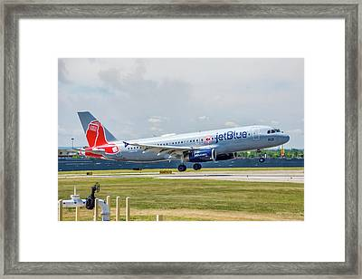 Airbus A320 Boston Strong Framed Print by Guy Whiteley