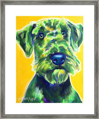 Airedale Terrier - Apple Green Framed Print by Alicia VanNoy Call
