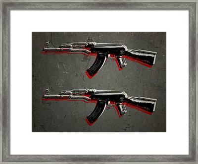 Ak47 Assault Rifle Pop Art Framed Print by Michael Tompsett