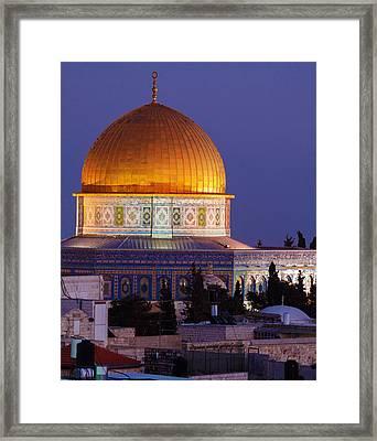 Al-aqsa Mosque At Night Jerusalem Israel Framed Print by Rostislav Ageev