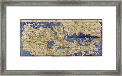 Al Idrisi World Map 1154 Framed Print by SPL and Photo Researchers
