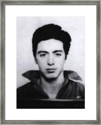 Al Pacino Mug Shot 1961 Black And Blueish  Framed Print by Tony Rubino