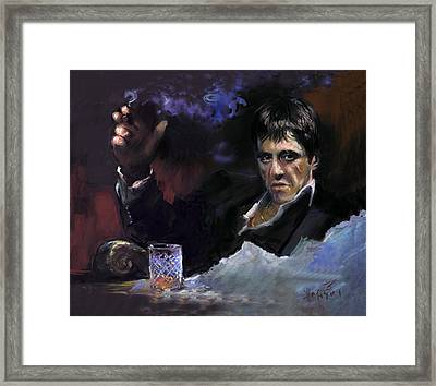 Al Pacino Snow Framed Print by Ylli Haruni
