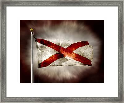 Alabama State Flag Framed Print by Steven  Michael