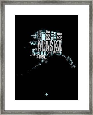 Alaska Word Cloud 1 Framed Print by Naxart Studio