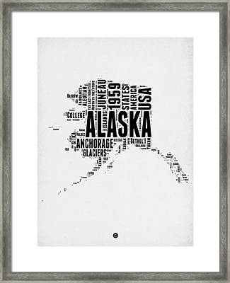 Alaska Word Cloud 2 Framed Print by Naxart Studio