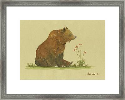 Alaskan Grizzly Bear Framed Print by Juan Bosco