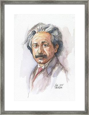Albert Einstein Framed Print by Olga Shvartsur