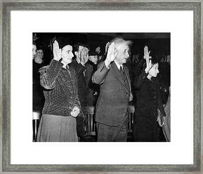 Albert Einstein Taking His Oath Framed Print by Everett