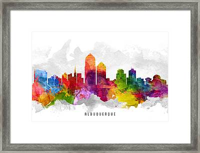 Albuquerque New Mexico Cityscape 13 Framed Print by Aged Pixel
