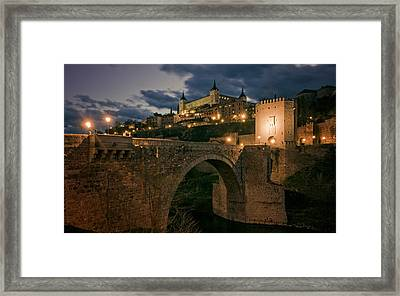 Alcantara Bridge And Alcazar Toledo Night Framed Print by Joan Carroll