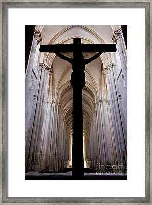 Alcobaca Monastery Church Crucifix Framed Print by Jose Elias - Sofia Pereira