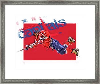 Alex Ovechkin Washington Capitals Oil Art 2 Framed Print by Joe Hamilton
