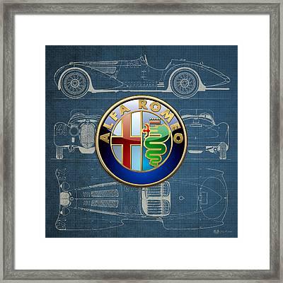 Alfa Romeo 3 D Badge Over 1938 Alfa Romeo 8 C 2900 B Vintage Blueprint Framed Print by Serge Averbukh