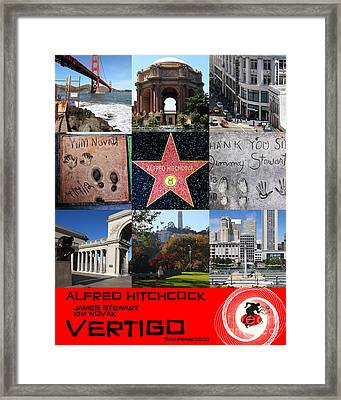 Alfred Hitchcock Jimmy Stewart Kim Novak Vertigo San Francisco 20150608 Text Red Framed Print by Wingsdomain Art and Photography