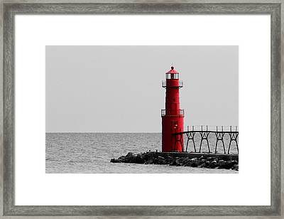 Algoma Lighthouse Bwc Framed Print by Mark J Seefeldt