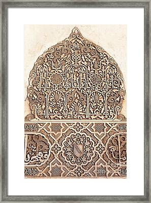 Alhambra Wall Panel Detail Framed Print by Jane Rix