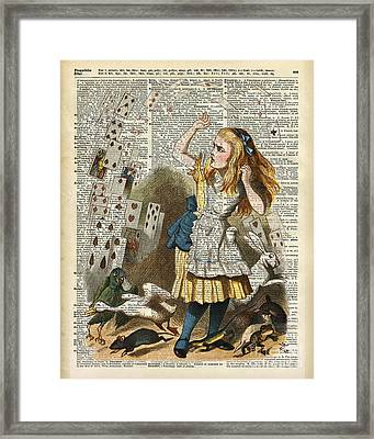 Alice In The Wonderland On A Vintage Dictionary Book Page Framed Print by Jacob Kuch
