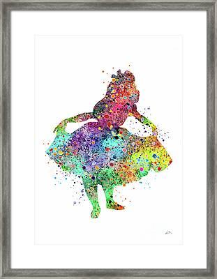 Alice In Wonderland 3 Watercolor Print Framed Print by Svetla Tancheva