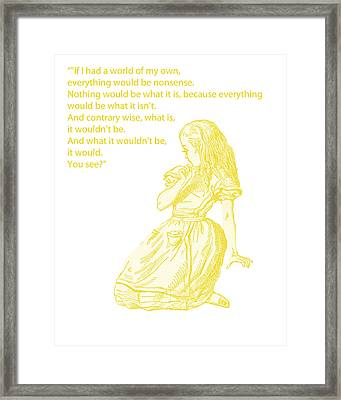 Alice In Wonderland - If I Had A World Of My Own Framed Print by Georgia Fowler