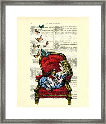 Alice In Wonderland Playing With Cute Cat And Butterflies Framed Print by Madame Memento