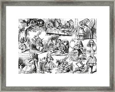 Alice In Wonderland Toile De Jouy Framed Print by Eclectic at HeART