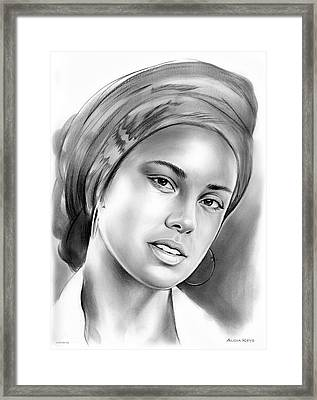 Alicia Keys Framed Print by Greg Joens
