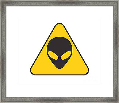 Alien Grey Graphic Framed Print by Pixel Chimp