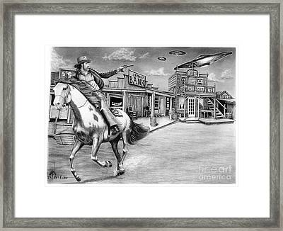Cowboy Pencil Drawings Framed Print featuring the painting Aliens And Cowboys by Murphy Elliott