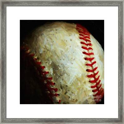 All American Pastime - Baseball - Square - Painterly Framed Print by Wingsdomain Art and Photography