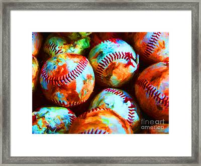 All American Pastime - Pile Of Baseballs - Painterly Framed Print by Wingsdomain Art and Photography