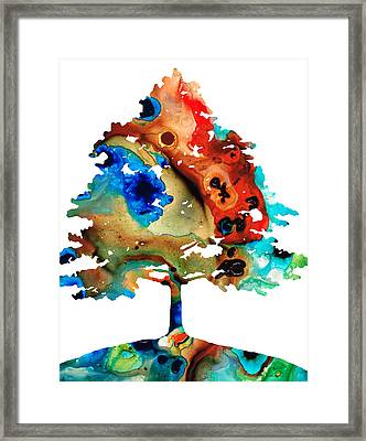 All Seasons Tree 3 - Colorful Landscape Print Framed Print by Sharon Cummings