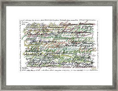 All The Presidents Signatures Green Sepia Framed Print by Tony Rubino